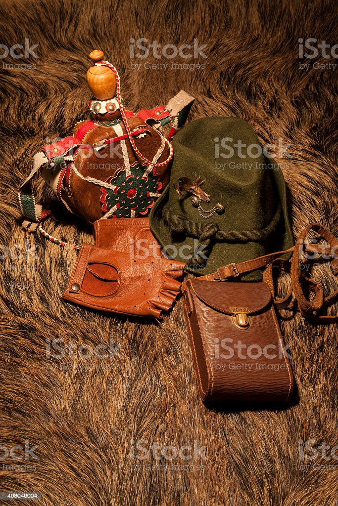 Equipment for hunting on wild boar skin stock photo