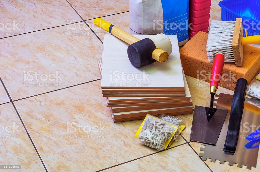 Equipment for laying tile stock photo