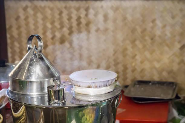 Equipment for made Thai steamed rice-skin dumplings stock photo