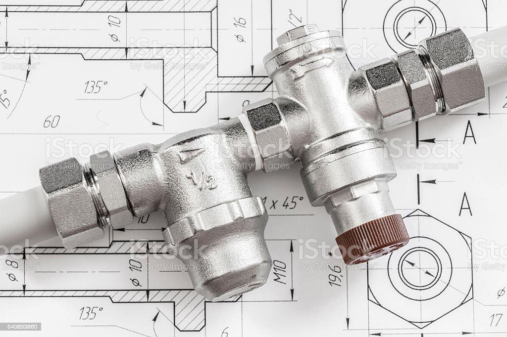 Equipment for plumbing stock photo