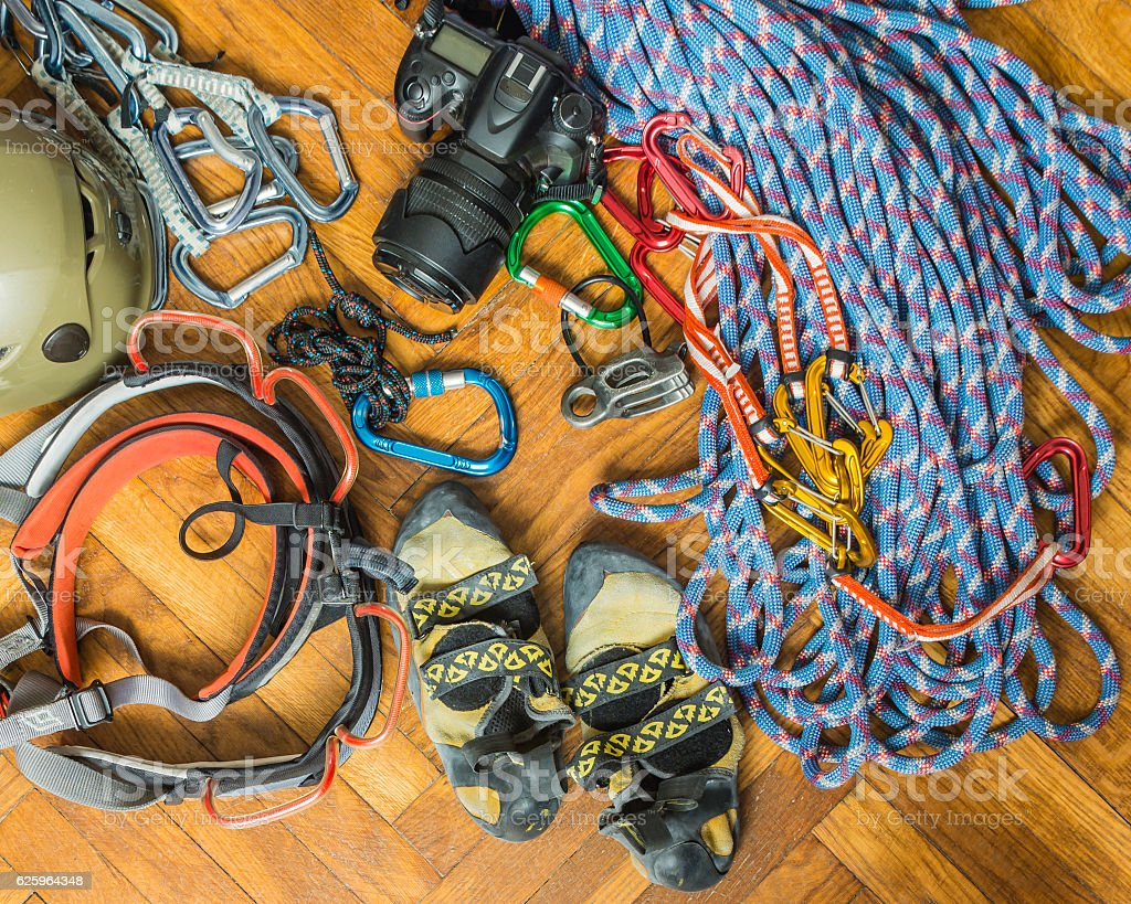 Equipment for rock climbing. stock photo