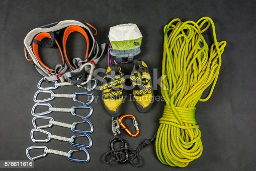 Equipment (rack gear, hardware) for safe rock climbing.