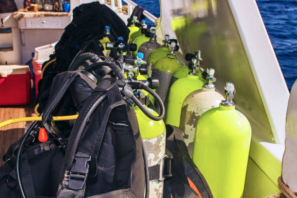 Equipment for scuba diving on boat of ship stock photo
