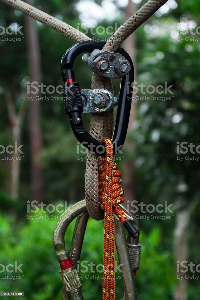 Equipment for slackline stock photo