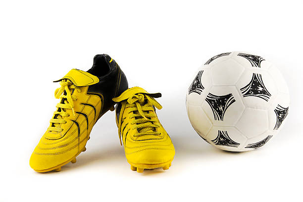 equipment for soccer player over-white portrait of a pair of football shoes studded stock pictures, royalty-free photos & images