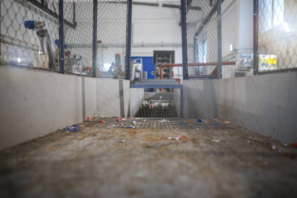 equipment for the processing of plastic waste in the factory - bioremediation stock photos and pictures
