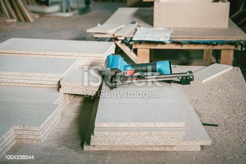 Equipment For Wood Working Lying In Carpentry Workshop