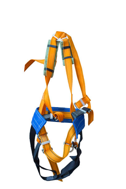 Equipment for work at heights. Equipment for work at heights. Sit harness on a white background. safety harness stock pictures, royalty-free photos & images