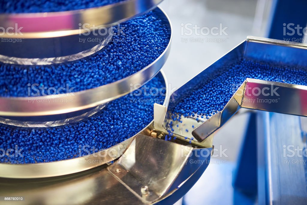 Equipment for working with small plastic granules for chemical industry - Royalty-free Automatic Stock Photo
