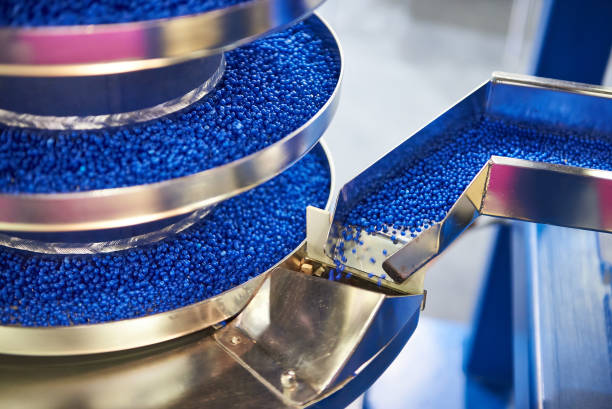 Equipment for working with small plastic granules for chemical industry stock photo