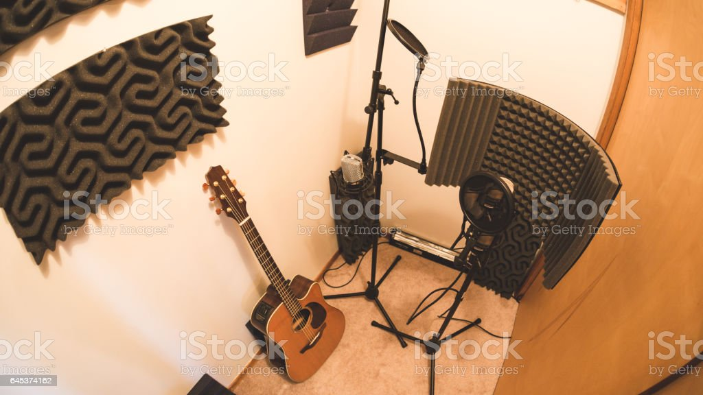 Equipment in a recording studio booth stock photo
