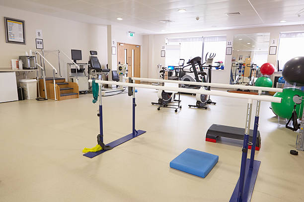Equipment In Empty Physiotherapy Department Of Hospital stock photo