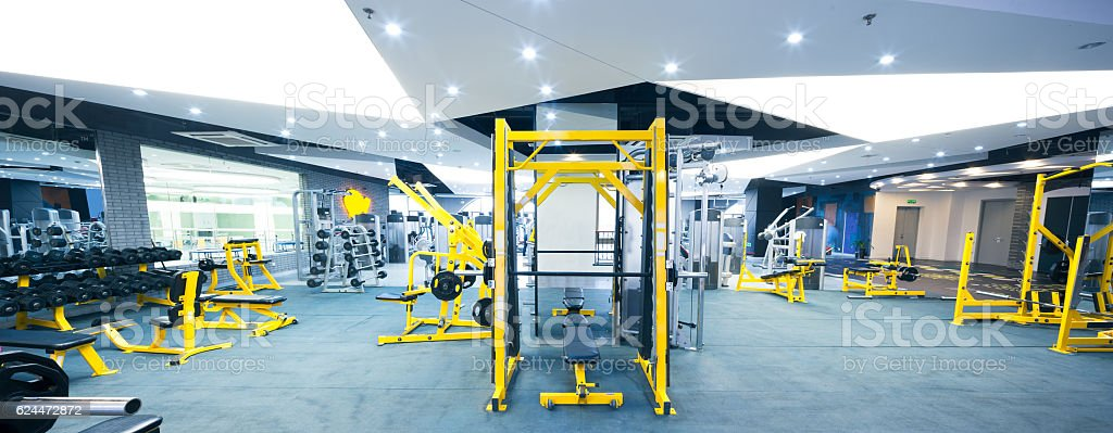equipment in modern gym stock photo