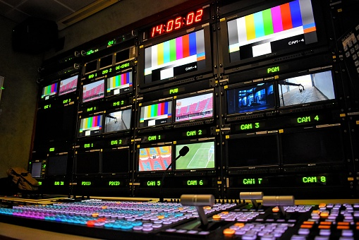 Equipment in outside broadcasting van for live TV broadcast and production of television programs.