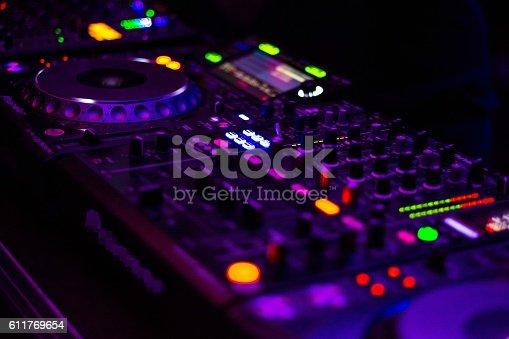 istock DJ equipment mixing board. 611769654