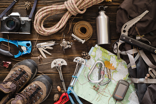 istock Equipment necessary for mountaineering and hiking 493439588