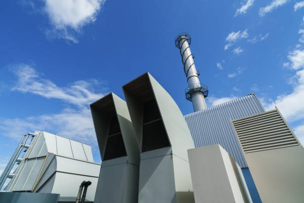 Equipment of a cogeneration station stock photo