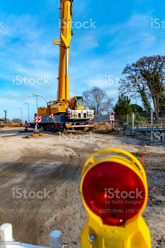 Equipment of a construction site, on which the new railway line for...