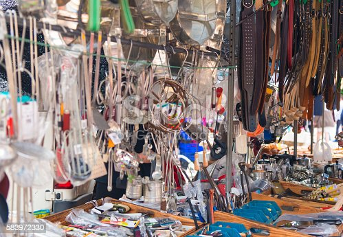 Equipment of a flea market with a lot of goods
