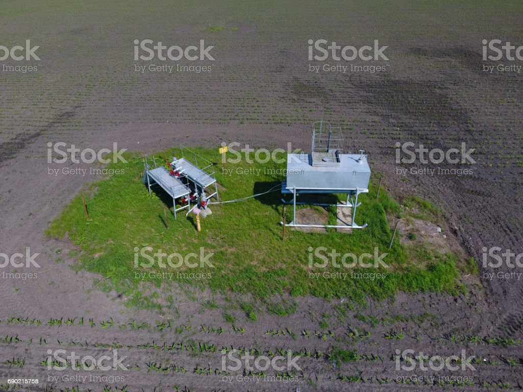 Equipment of an oil well. Shutoff valves and service equipment stock photo