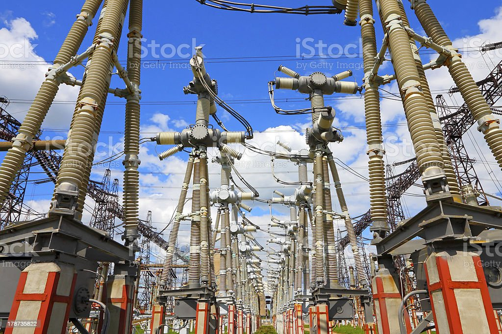 Equipment of high-voltage electric substation royalty-free stock photo