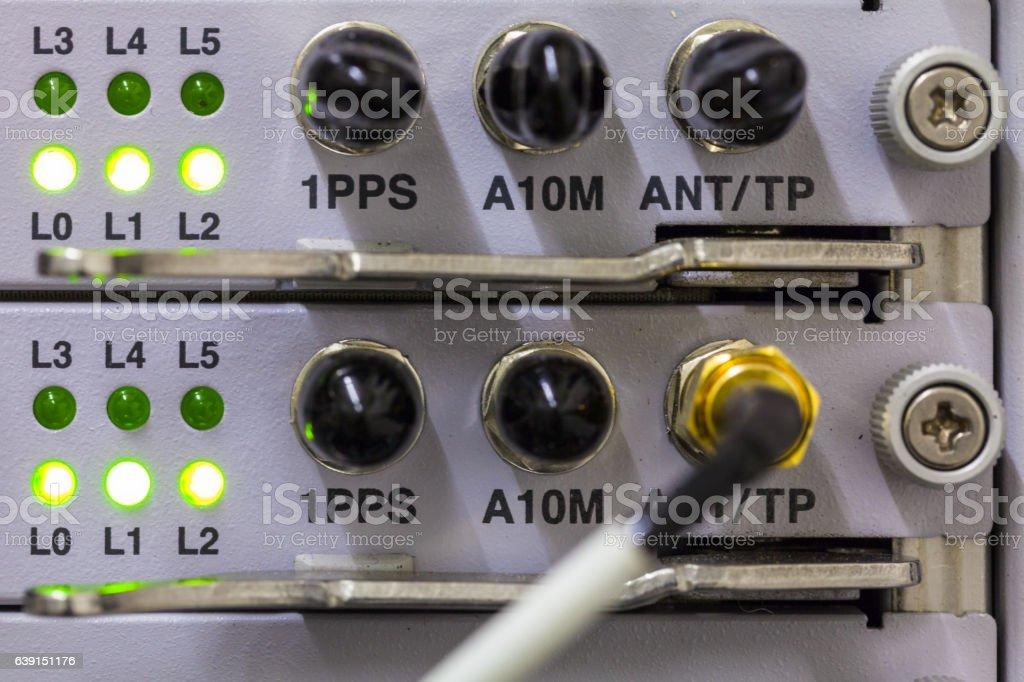Equipment of radio base station close-up.. Internet. Communication. Network stock photo