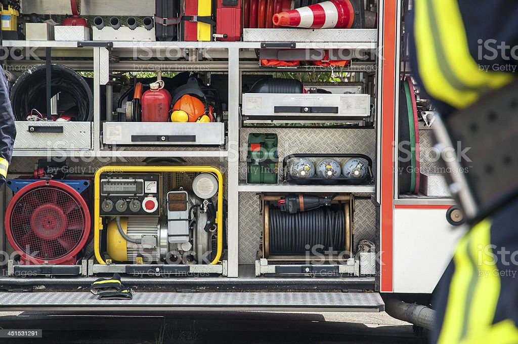 Equipment of the fire brigade in squad car. Germany stock photo