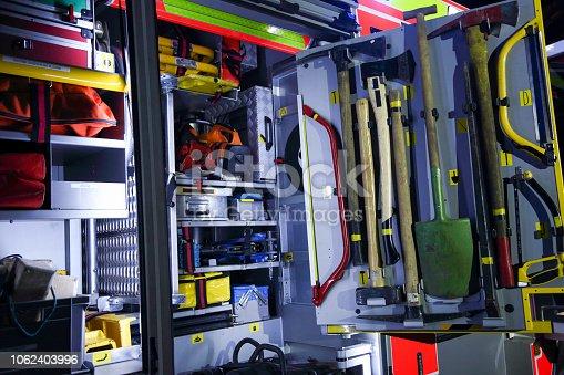 istock Equipment on a fire truck 1062403996
