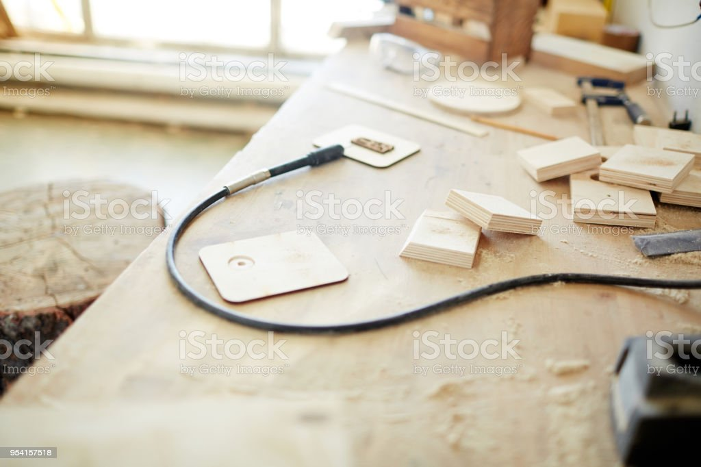 Equipment on workplace stock photo
