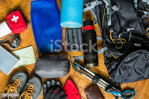 Equipment that would fit into a backpack to go out on a trail in the mountains.