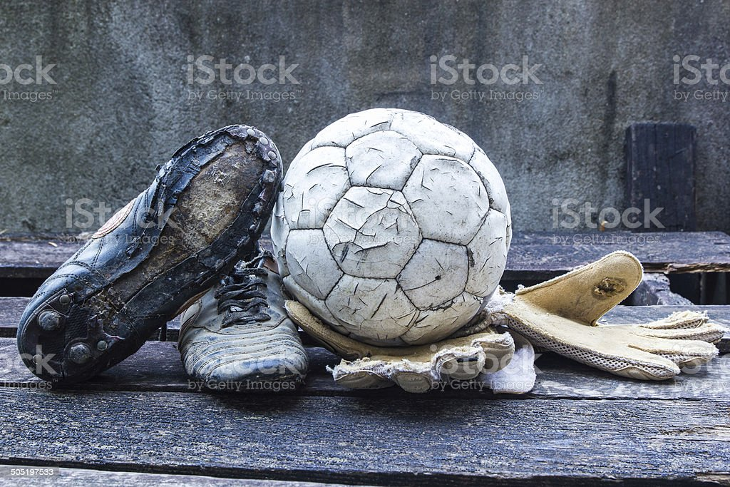 Equipment used old football player stock photo