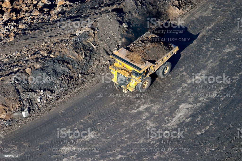 Aerial view of equipment used to strip mining coal in southern West...