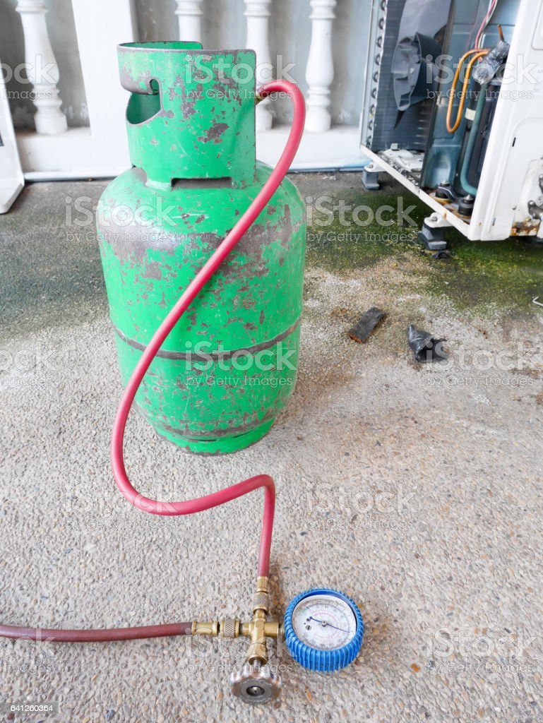 Equipments for checking air conditioner stock photo