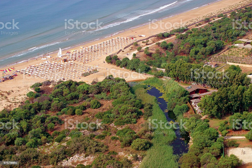 equipped beach in Italy royalty-free stock photo