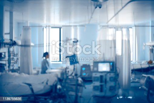 istock Equipped intensive care unit of modern hospital, unfocused background 1139755635