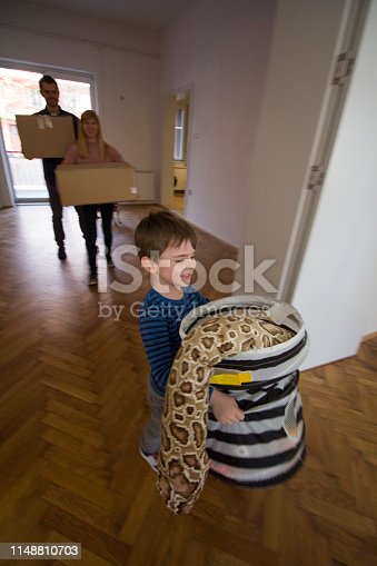 Young couple and their little son moving in into their new home.