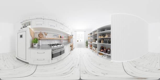 360 equirectangular interior panorámico de cocina moderna con gabinetes blancos y artículos organizados despensa, alimentos no perecederos, frutas y verduras en el compartimiento de almacenamiento - 360 fotografías e imágenes de stock