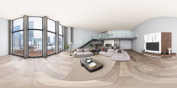 360 equirectangulares interior panorámico de villa moderna con salón, cocina y escaleras - 360 fotografías e imágenes de stock