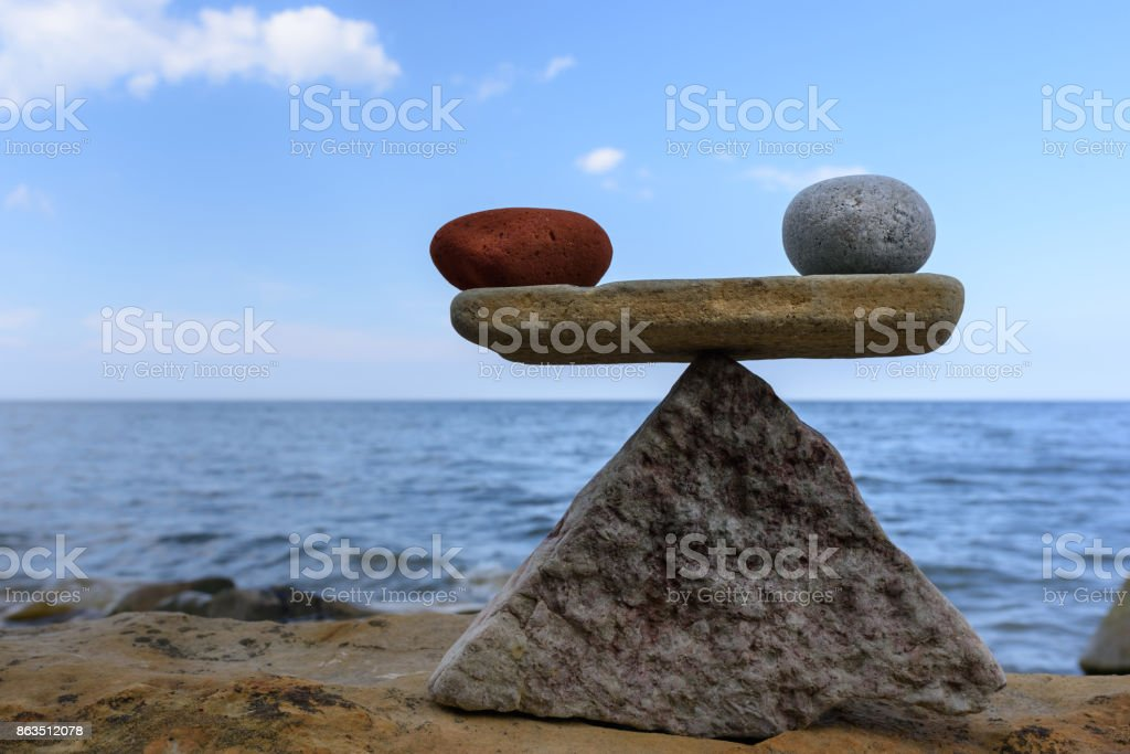 Equivalence of the stones stock photo
