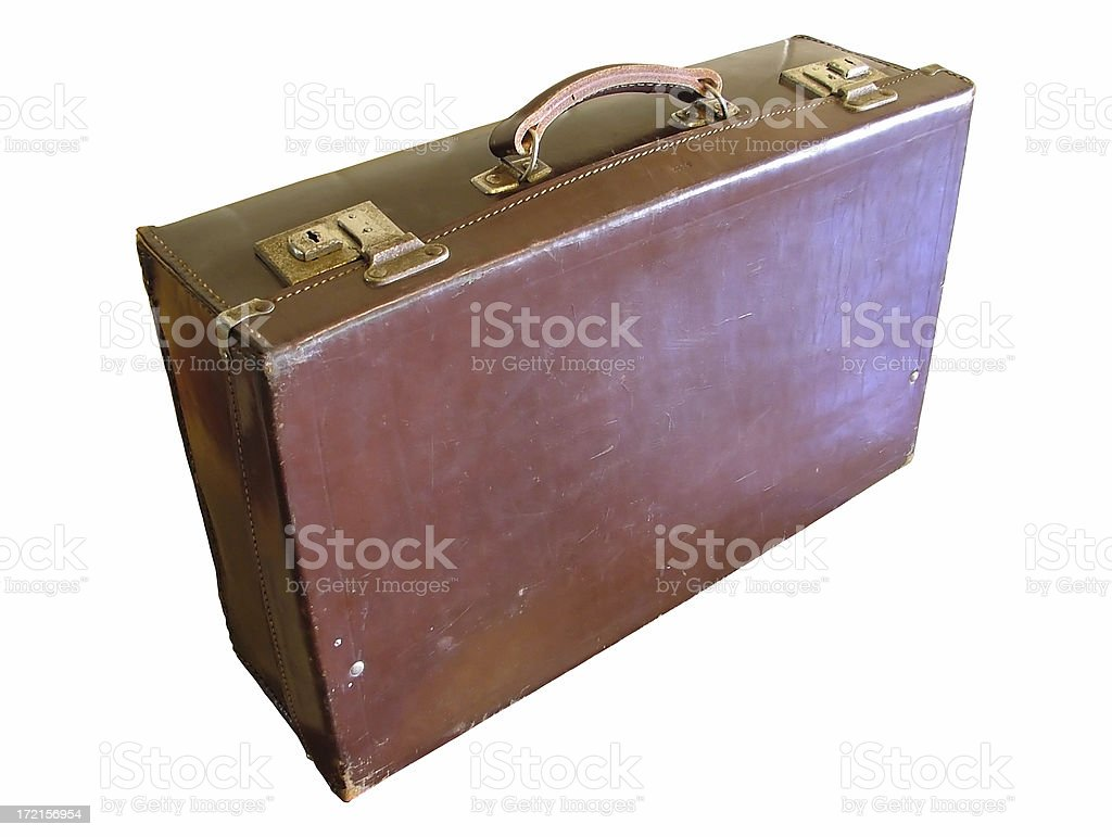 JFK era leather suitcase: Hit the road Jack stock photo