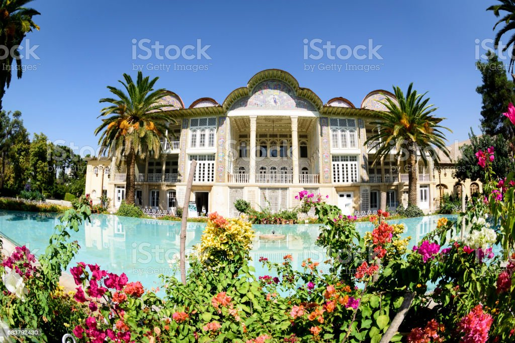 Eram Garden in Shiraz, Iran. The most beautiful gardens of Shiraz, is located along the northern shore of Khoshk River. stock photo