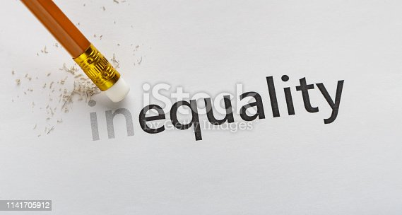 istock Erase part In in word Inequality on white background 1141705912