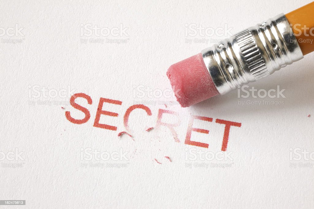 Erase Secret stock photo