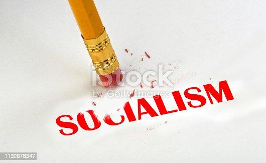 Erase away Socialism with pencil and eraser.