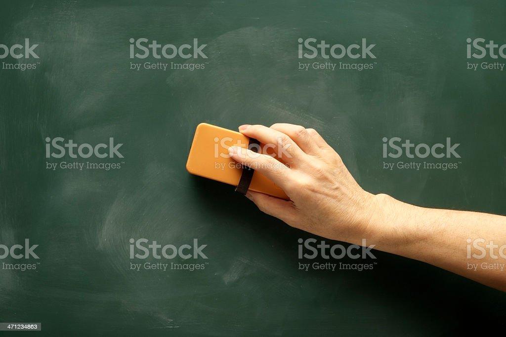Erased chalk by board eraser.
