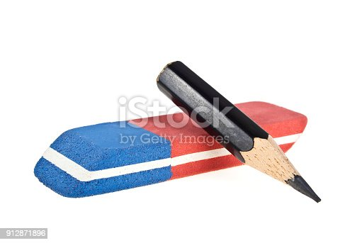 istock Eraser and black pencil isolated on a white background 912871896