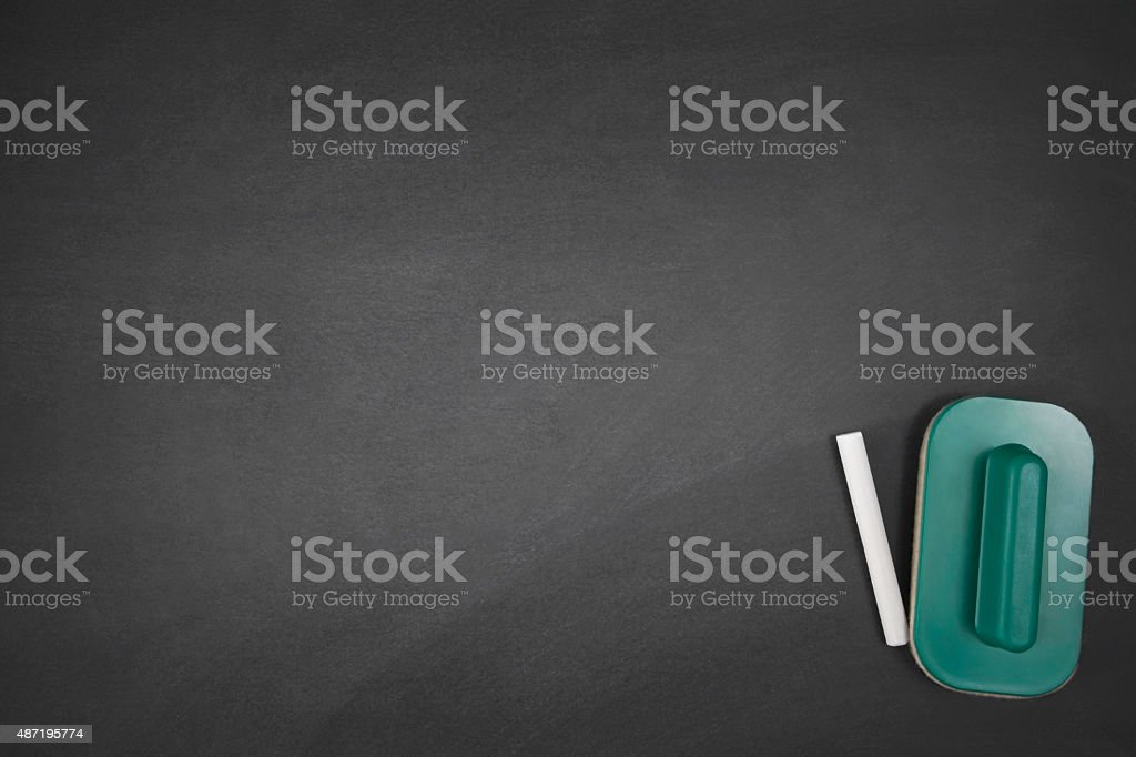 Eraser, and Chalk on Blackboard stock photo