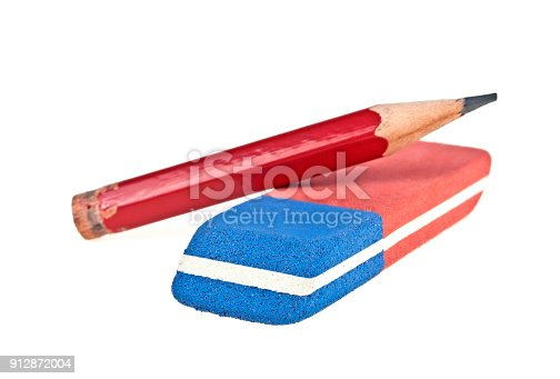istock Eraser and red pencil isolated on a white background 912872004