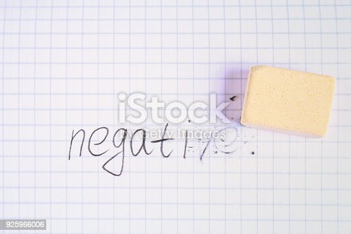 istock Eraser erasing on the sheet in the cage word: negative. 925966006