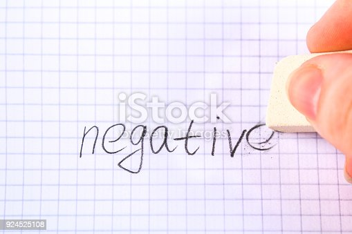 istock Eraser in hand erasing on the sheet in the cage word: negative. 924525108